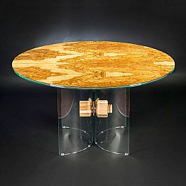 Round table Portofino, made of olive tree wood and glass