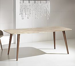 High Quality Modern Table in Marble and Walnut Wood Made in Italy - Hercules