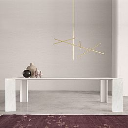 Design Table in Namibia White Marble Made in Italy, 210x110 cm - Monastero