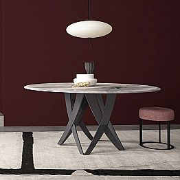 Round Table in Imperial Grey Marble Diameter 140 cm, Made in Italy – Montereale