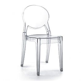 Stackable Internal or External Chair in Transparent Polycarbonate, 4 pcs - Planet