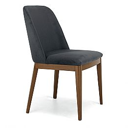 Upholstered Chair with Oak Wood Base Made in Italy, 4 Pieces - Sebastian