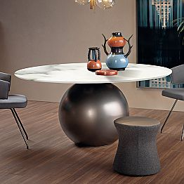 Dining Table with Round Top in Matt Marble Made in Italy - Bonaldo Circus
