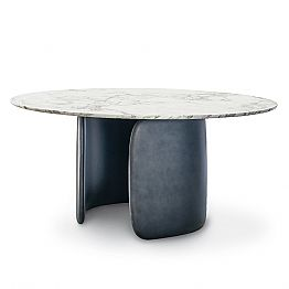 Round Design Table with Polished Marble Top Made in Italy - Mellow Bonaldo