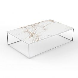 Modern Outdoor Coffee Table in Aluminum and Marble Effect Top - Suave by Vondom
