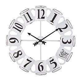 Homemotion Round Wall Clock in Black and White Steel - Tazza