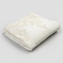 Cotton Terry Towelling Bath Towel with Edge in Linen Blend and Lace - Ginova