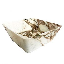 Modern Countertop Washbasin in Calacatta Marble of Made in Italy Design - Kuore