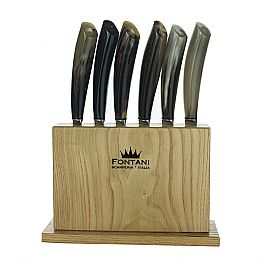 Block in Olive Wood with 6 Steak Knives Made in Italy - Ceppo