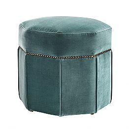 Modern Pouf Covered in Fabric, Details with Brass Finish - Brunello
