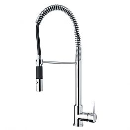 Adjustable Brass Kitchen Basin Mixer with Spring Made in Italy - Keope