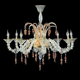 Murano Glass Chandelier with 8 Lights of Classic Design Made in Italy – Amabilio