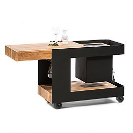 Modern Mobile Bar on Wheels Design with Wooden and Steel Table - Giancalliope
