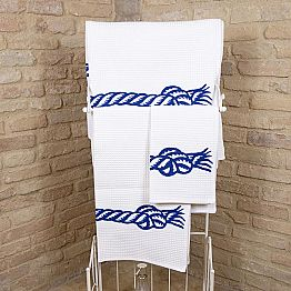 Handcrafted Print Towel in Cotton Unique Piece Made in Italy