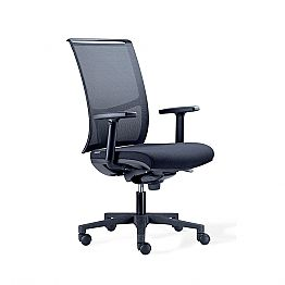 Semi-Directional Office Chair in Tecnorete and Black Fabric - Vespasiano
