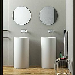 Cylindrical freestanding floor washbasin produced in Italy, Rumo
