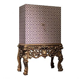 Baroque cocktail cabinet Sam, with carved wooden base, made in Italy
