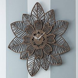 Wall Clock in Light or Dark Wood with a Modern Flower Design - Aquilegia