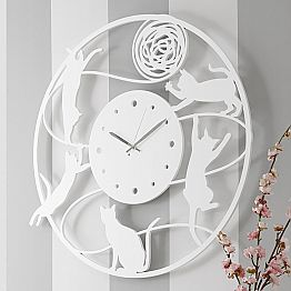 Large Modern Round Colored Decorated Wall Clock - Cat