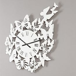 Wall Clock Colored Wood Modern Design Decorated with Butterflies - Papilio
