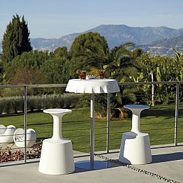 Modern high outdoor bar stool, Slide Drink, produced in Italy