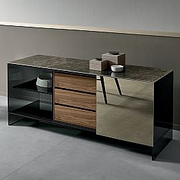 Living Room Sideboard in Smokey Glass with Bronze Mirror Door Made in Italy - Scocca