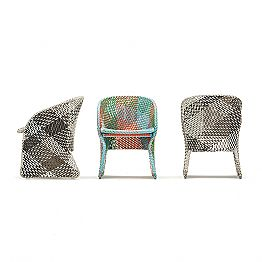 Garden armchair in colored braided synthetic fiber - Maat by Varaschin