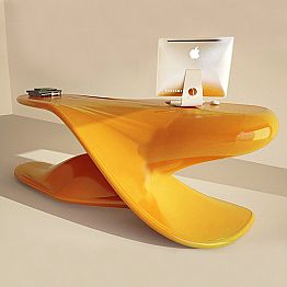 Modern design office desk Archer, made of Solid Surface, made in Italy