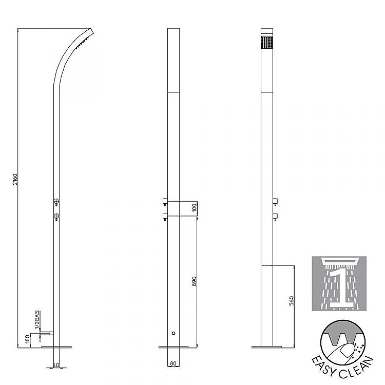 Bossini Outdoor stainless steel shower column Arch, external water inlet
